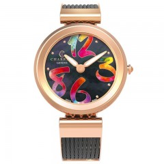 Charriol Womens Forever Stainless Steel Cable Black Mother Of Pearl Dial Watch FE32.302.010