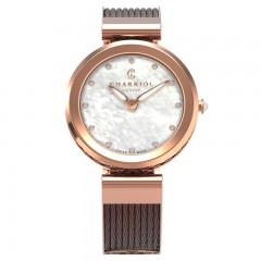 Charriol Mother Of Pearl 12 zirconia Dial Bronze Stainless Steel Swiss Quartz Watch FE32.602.005