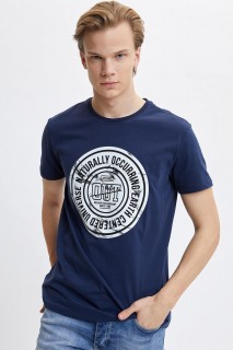 Defacto Men Knitted Indigo IN75 T-Shirt -Xsmall