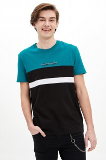 Defacto Men Knitted Petrol GN522 T-Shirt -Xsmall