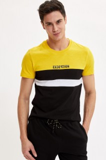 Defacto Men Knitted Yellow YL120 T-Shirt -Xsmall