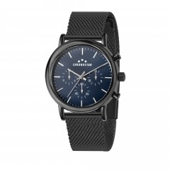Chronostar Mens Blue Dial Quartz Watch With Stainless Steel Strap