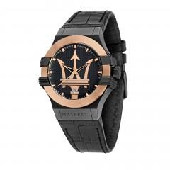 Masareti Mens Potenza Black Leather Quartz Fashion Watch R8851108032