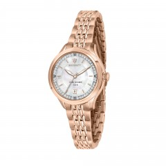 Masareti Traguardo Collection Stainless Steel Rosegold Pvd Crystals Womens Watch R8853112514