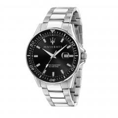 Maserati Stainless Steel Sfida Men Black Quartz Analog Watch R8853140002