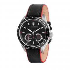 Maserati Mens Traguardo Stainless Steel Quartz Leather Calfskin Strap, Black, 22 Casual Watch R8871612028