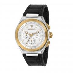 Maserati Triconic Quarz Wrist Watch Black Leather Strap And Gold Silver Case R8871639004