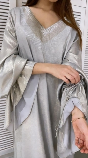 Sky Grey Front Embroidered Dress - XL - UK 14 - 60