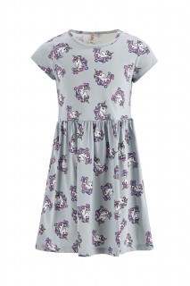 Girl's Knitted Dress LT.GREY MELANGE 3/4