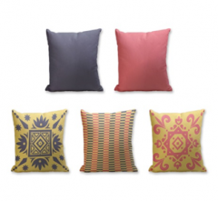 Set of 5 Cushion Cover - 50% Cotton 50% Polyester- 45x45cm (each)-0
