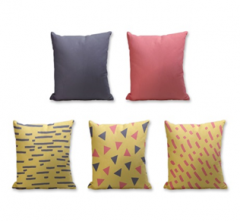 Set of 5 Cushion Cover - 50% Cotton 50% Polyester- 45x45cm (each) -1