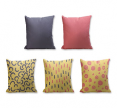 Set of 5 Cushion Cover - 50% Cotton 50% Polyester- 45x45cm (each)-22