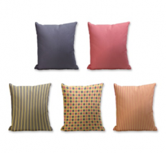 Set of 5 Cushion Cover - 50% Cotton 50% Polyester- 45x45cm (each)-3