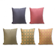 Set of 5 Cushion Cover - 50% Cotton 50% Polyester- 45x45cm (each)-5