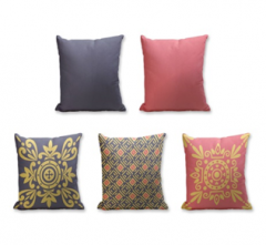 Set of 5 Cushion Cover - 50% Cotton 50% Polyester- 45x45cm (each)-6