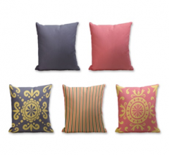 Set of 5 Cushion Cover - 50% Cotton 50% Polyester- 45x45cm (each)-7