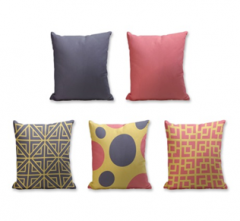Set of 5 Cushion Cover - 50% Cotton 50% Polyester- 45x45cm (each)-8