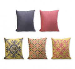 Set of 5 Cushion Cover - 50% Cotton 50% Polyester- 45x45cm (each)-9