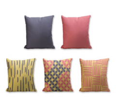 Set of 5 Cushion Cover - 50% Cotton 50% Polyester- 45x45cm (each)-10
