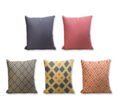 Set of 5 Cushion Cover - 50% Cotton 50% Polyester- 45x45cm (each)-11