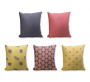 Set of 5 Cushion Cover - 50% Cotton 50% Polyester- 45x45cm (each)-12