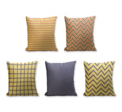 Set of 5 Cushion Cover - 50% Cotton 50% Polyester- 45x45cm (each)-15