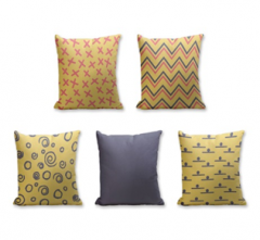 Set of 5 Cushion Cover - 50% Cotton 50% Polyester- 45x45cm (each)-16