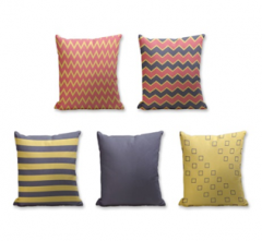 Set of 5 Cushion Cover - 50% Cotton 50% Polyester- 45x45cm (each)-17