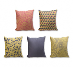 Set of 5 Cushion Cover - 50% Cotton 50% Polyester- 45x45cm (each)-18