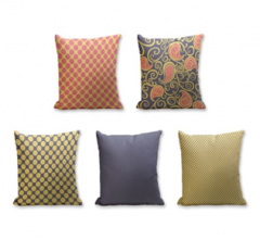 Set of 5 Cushion Cover - 50% Cotton 50% Polyester- 45x45cm (each)-19