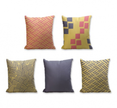 Set of 5 Cushion Cover - 50% Cotton 50% Polyester- 45x45cm (each)-24
