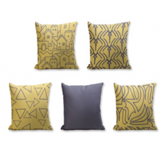 Set of 5 Cushion Cover - 50% Cotton 50% Polyester- 45x45cm (each)-25