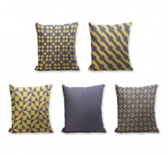 Set of 5 Cushion Cover - 50% Cotton 50% Polyester- 45x45cm (each)-26