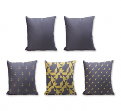 Set of 5 Cushion Cover - 50% Cotton 50% Polyester- 45x45cm (each)-28