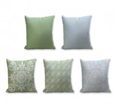 Set of 5 Cushion Cover - 50% Cotton 50% Polyester- 45x45cm (each)-35