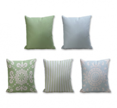 Set of 5 Cushion Cover - 50% Cotton 50% Polyester- 45x45cm (each)-36
