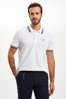 Defacto Men Knitted White WT34 Polo T-Shirt -Xsmall