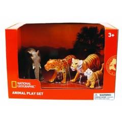 Natgeo Elephant Leopard Tiger And Cub Figurines 4 Pieces