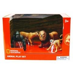 Natgeo Gorilla Lions Monkey  Mountain Lion Figurines 4 Pieces