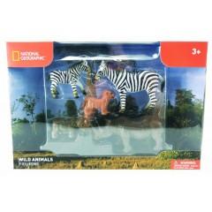 Natgeo Zebras Rhinoceros And Lion Cub Figurines 5 Pieces