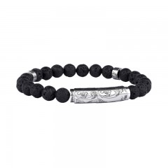 Police Samoa Black Leather Bracelet For Men P PJ 26359BSS/01