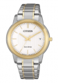 Citizen Eco-Drive, White Dial Women's Watch with Two-Tone Gold Plating.